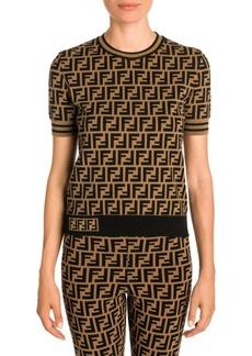 Fendi Allover Logo Pullover Knit Sweater