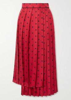 Fendi Asymmetric Pleated Printed Silk-twill Midi Skirt