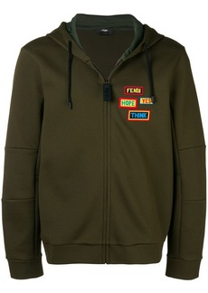 Fendi badge patch zip hoodie