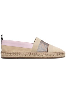 Fendi beige, brown and lilac Colibri mesh logo espadrilles