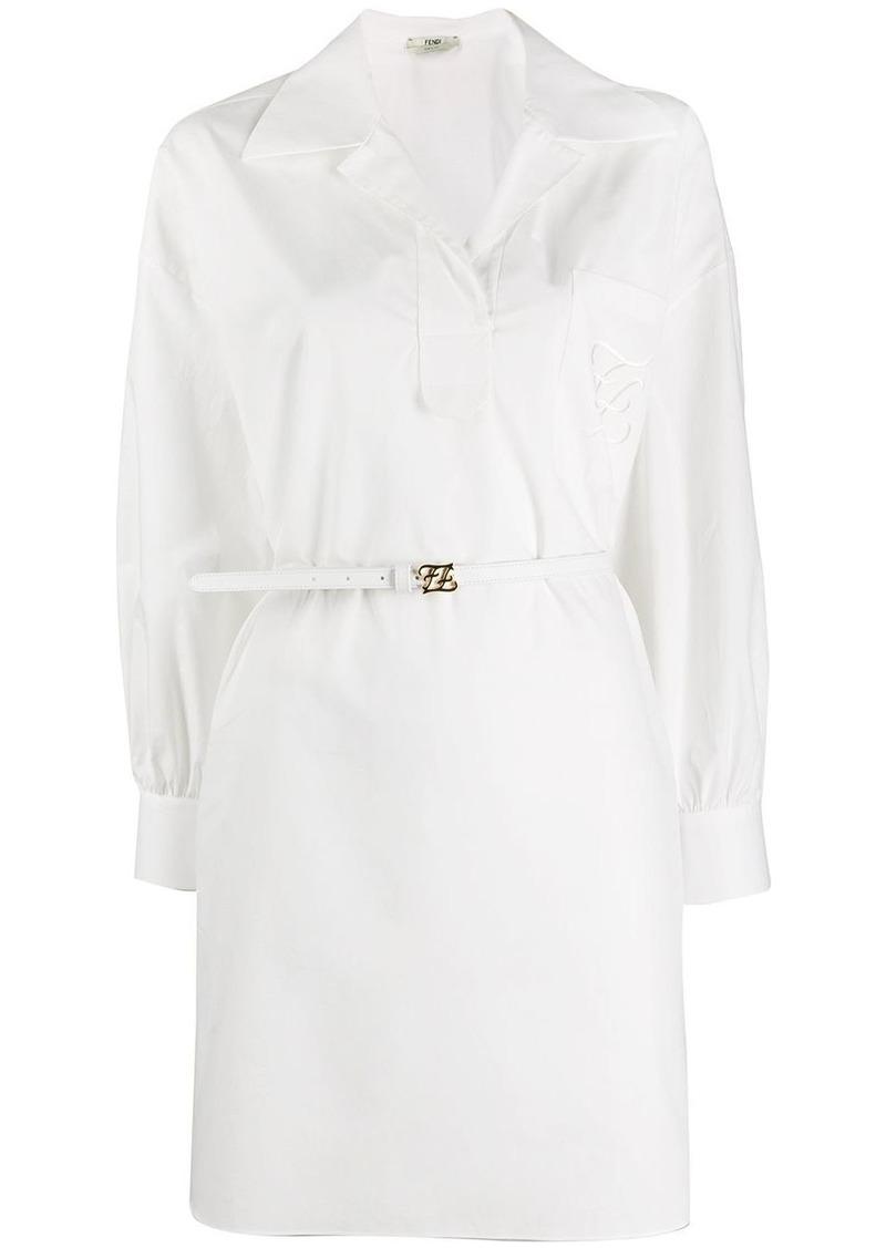 Fendi belted asymmetric shirt dress