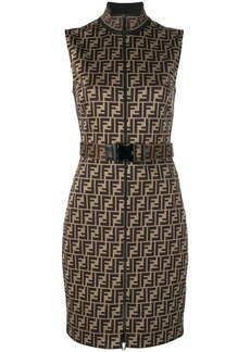 Fendi belted FF logo fitted dress