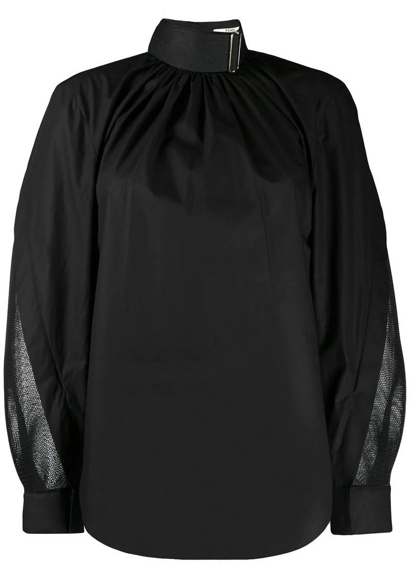 Fendi belted neck draped blouse