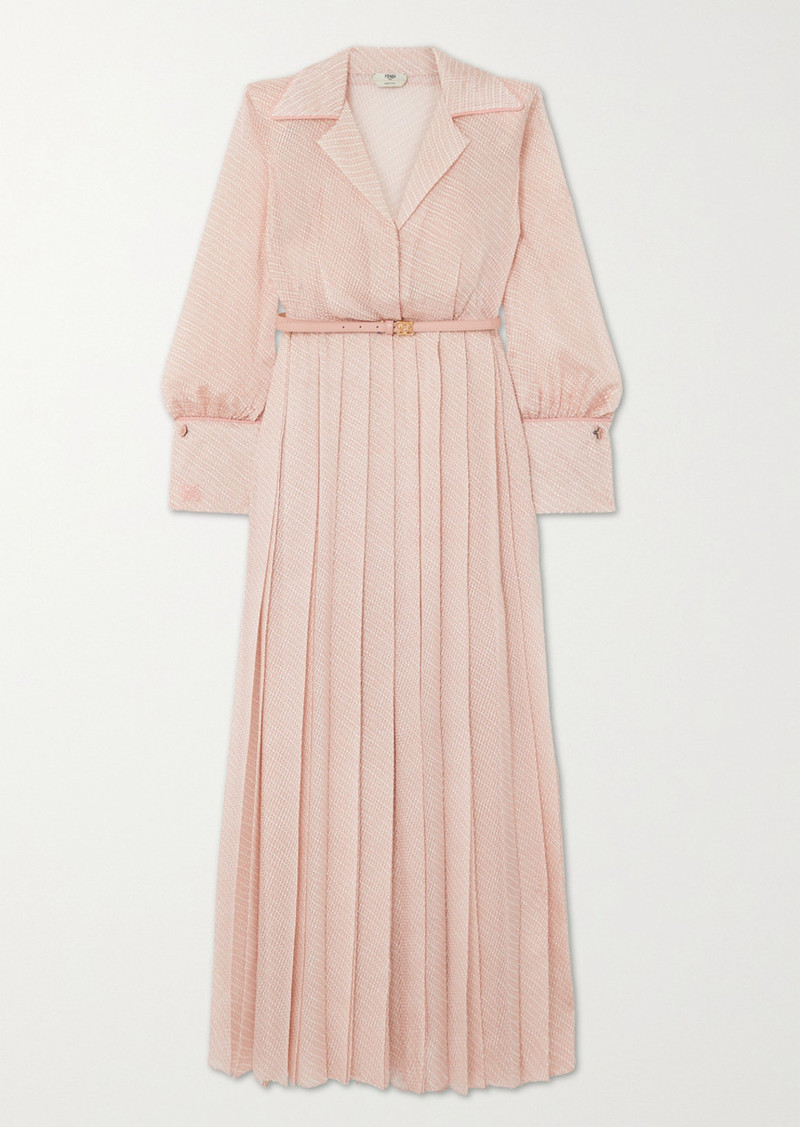 Fendi Belted Pleated Silk-blend Cloqué Maxi Dress