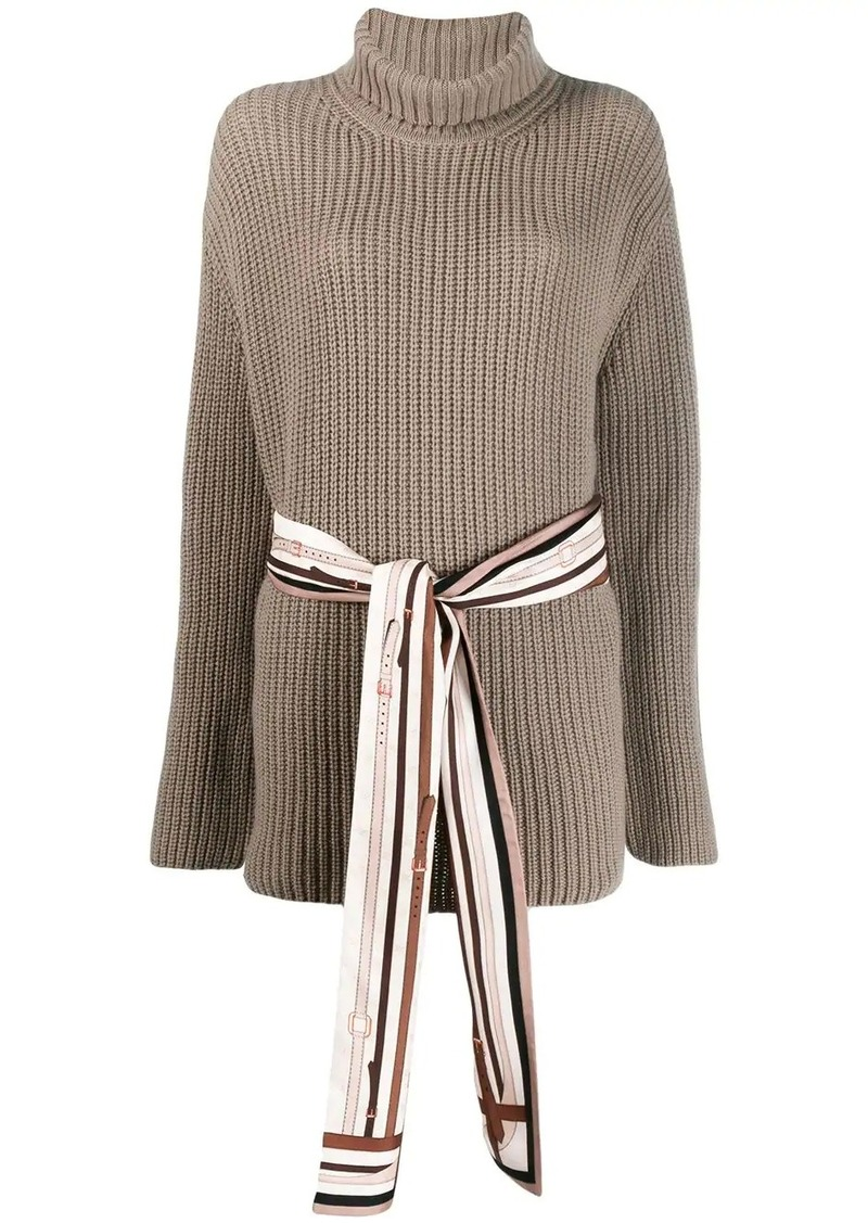 Fendi belted ribbed roll-neck sweater