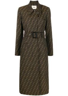 Fendi belted Zucca trench coat