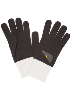 Fendi bicolor appliqué gloves