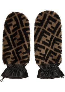 Black & Brown Fur 'Forever Fendi' Gloves