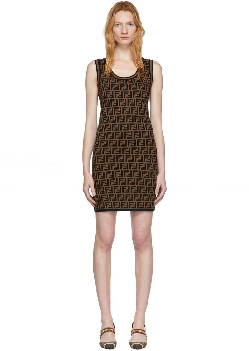 Black & Brown Knit 'Forever Fendi' Dress