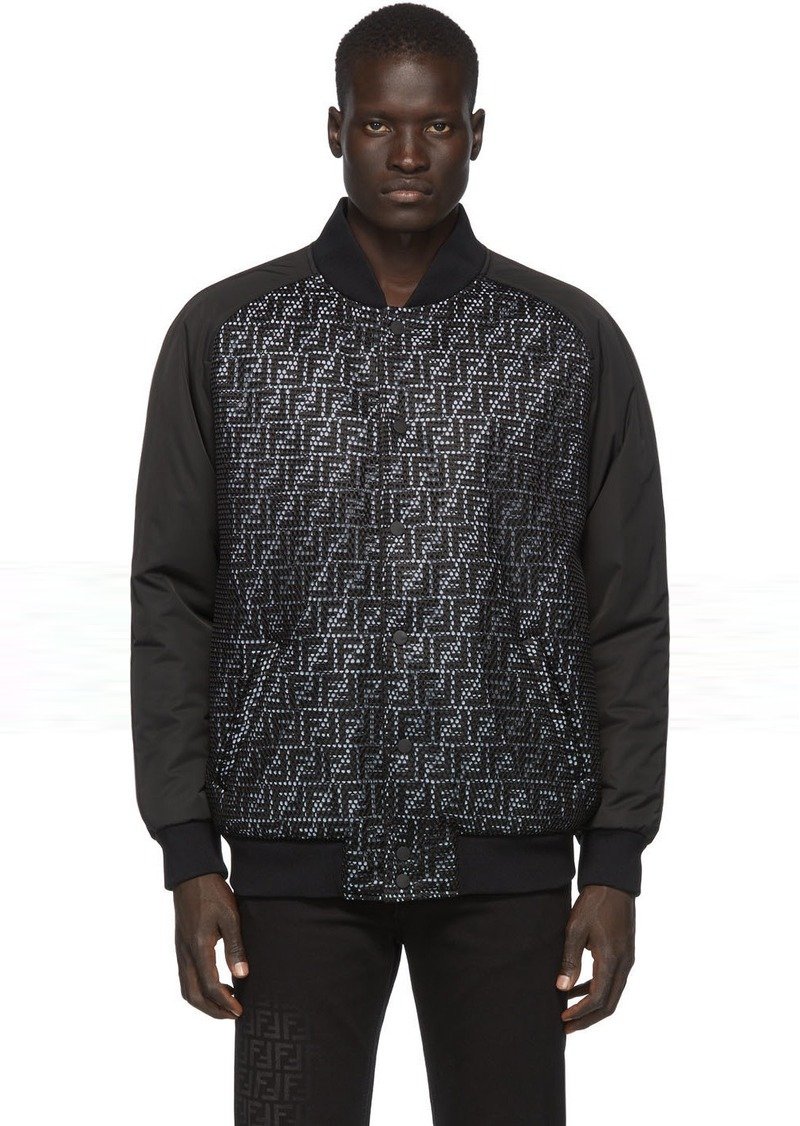 Black & Grey Mesh 'Forever Fendi' Bomber Jacket