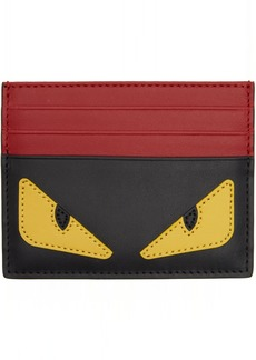 Fendi Black & Red 'Bag Bugs' Card Holder