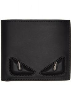 Fendi Black & Silver 'Bag Bugs' Bifold Wallets