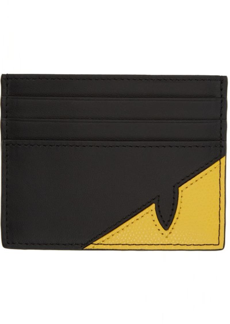 Fendi Black & Yellow Bag Bugs Mono Eye Card Holder