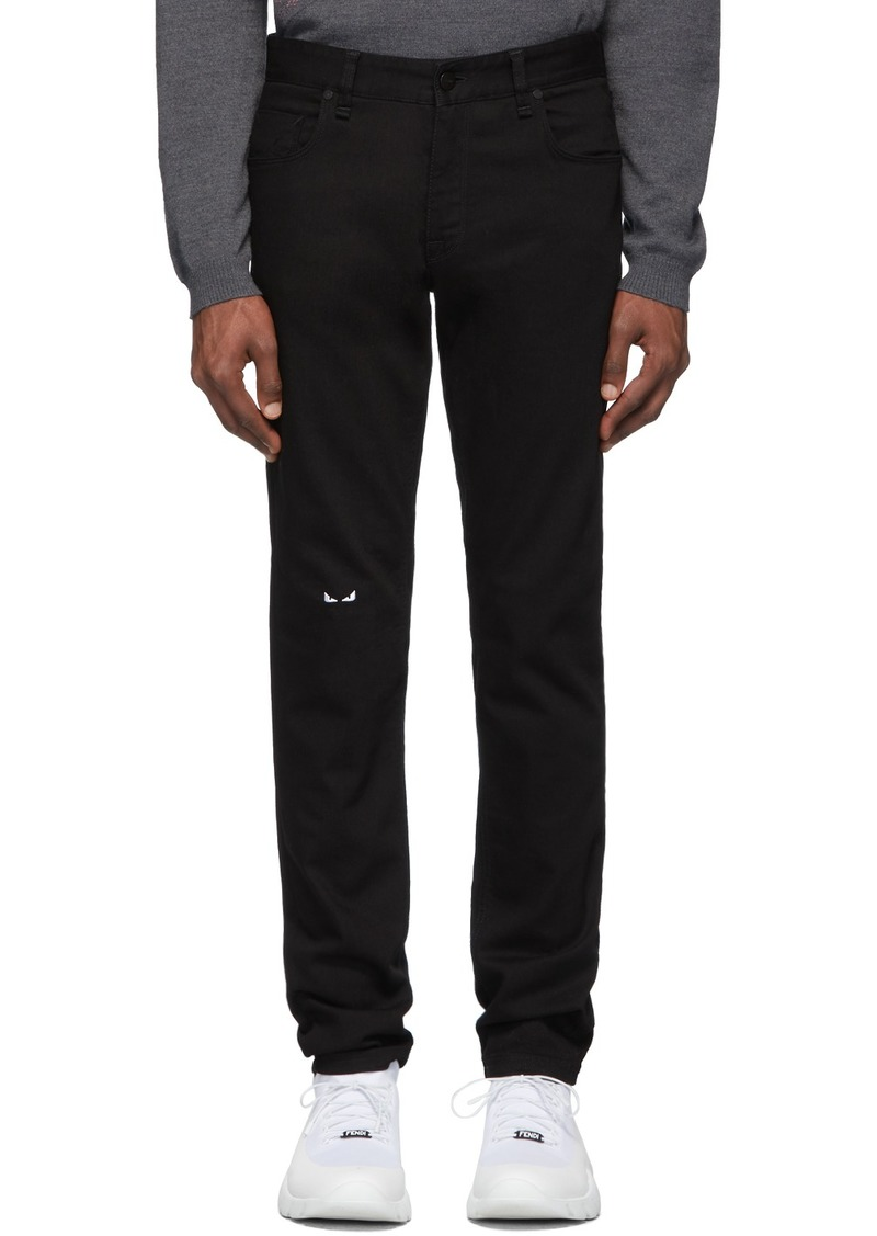 Fendi Black Bag Bugs Knee Jeans