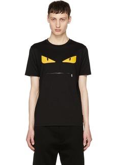 Fendi Black 'Bag Bugs' Zip Mouth T-Shirt