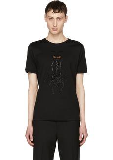 Fendi Black Crystal-Embellished 'Super Bugs' T-Shirt