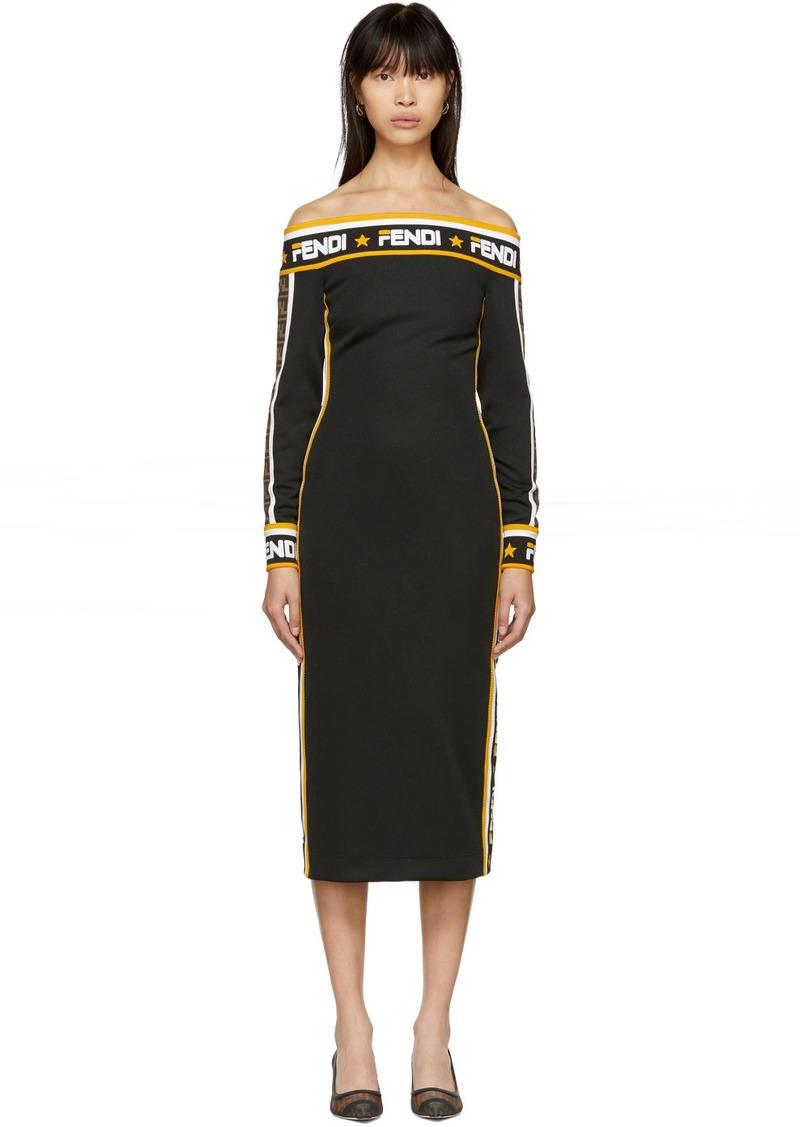 Black 'Fendi Mania' Off-The-Shoulder Dress