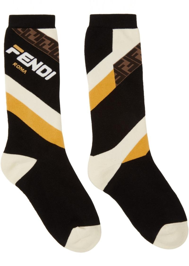 Black 'Fendi Mania' Socks