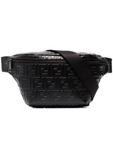 Fendi black FF logo leather crossbody bag