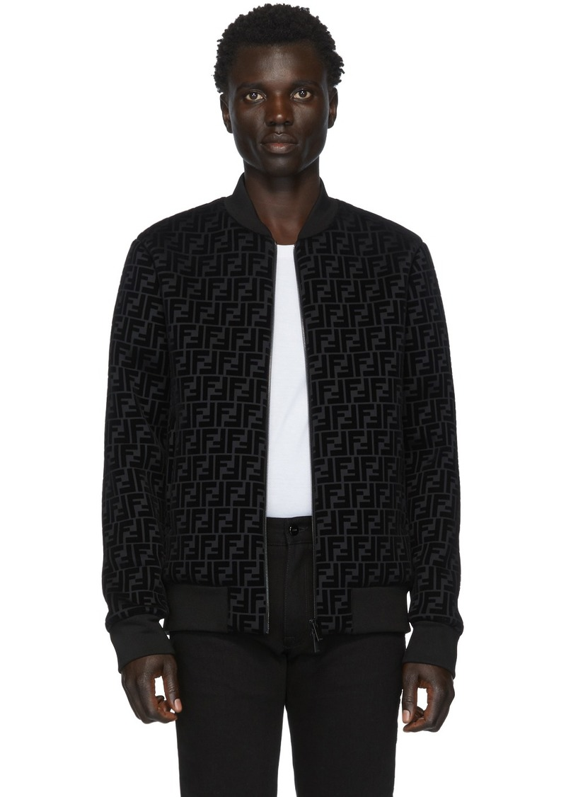 Black 'Forever Fendi' Flocked Logo Bomber Jacket