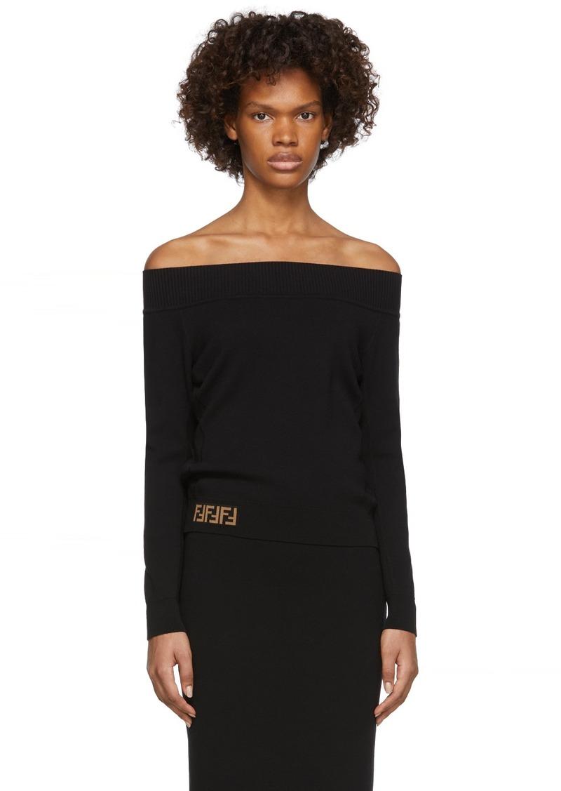 Black 'Forever Fendi' Off-The-Shoulder Sweater