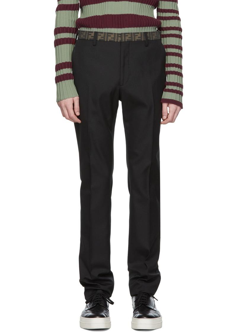 Black 'Forever Fendi' Pleated Trousers