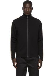 Black 'Forever Fendi' Tape Zip-Up Sweater