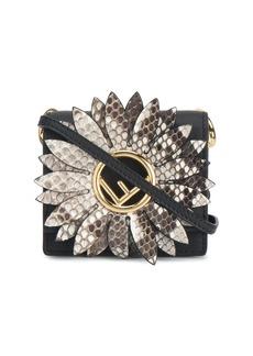 Fendi black Kan I F micro snakeskin bag