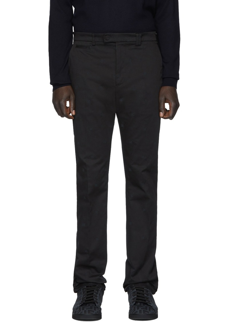 Fendi Black Karligraphy Chino Trousers