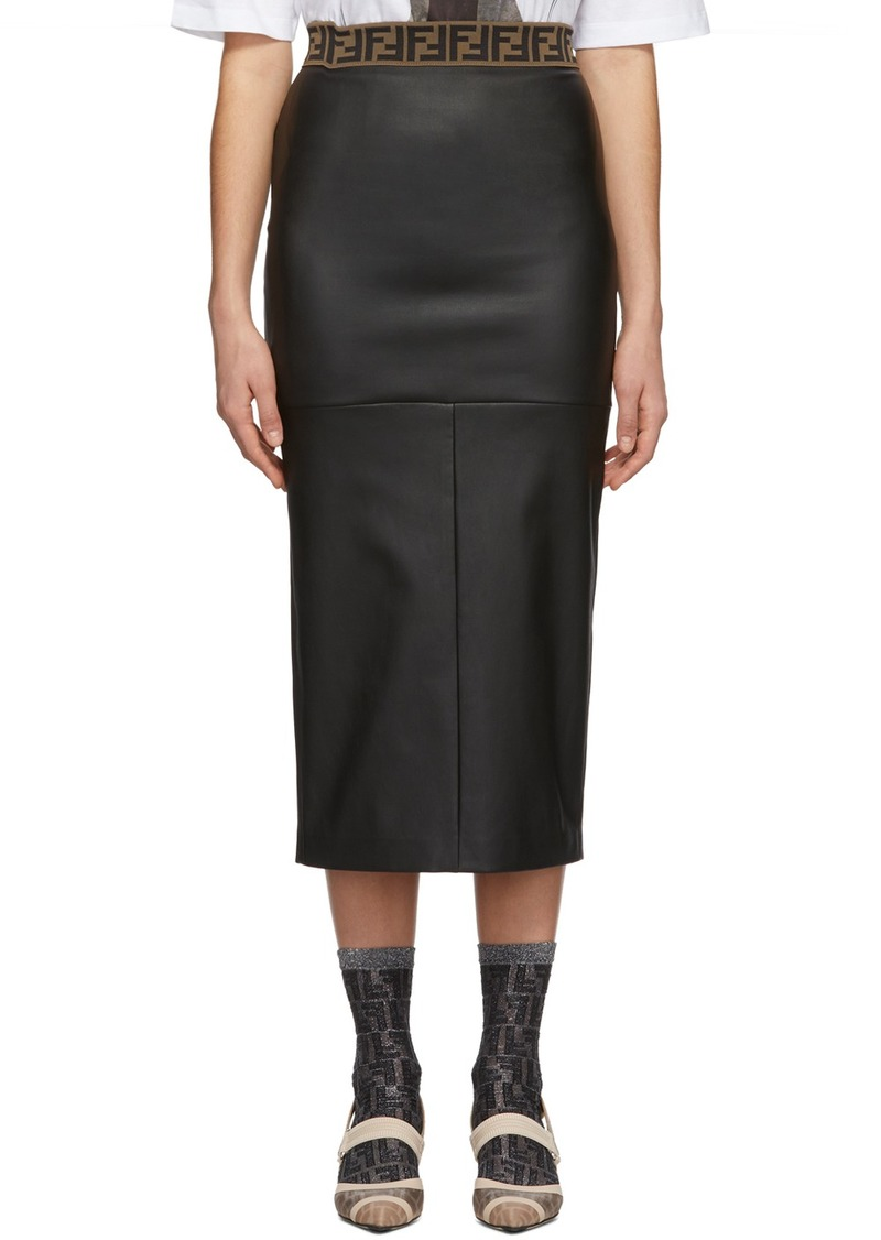 Black Leather 'Forever Fendi' Skirt