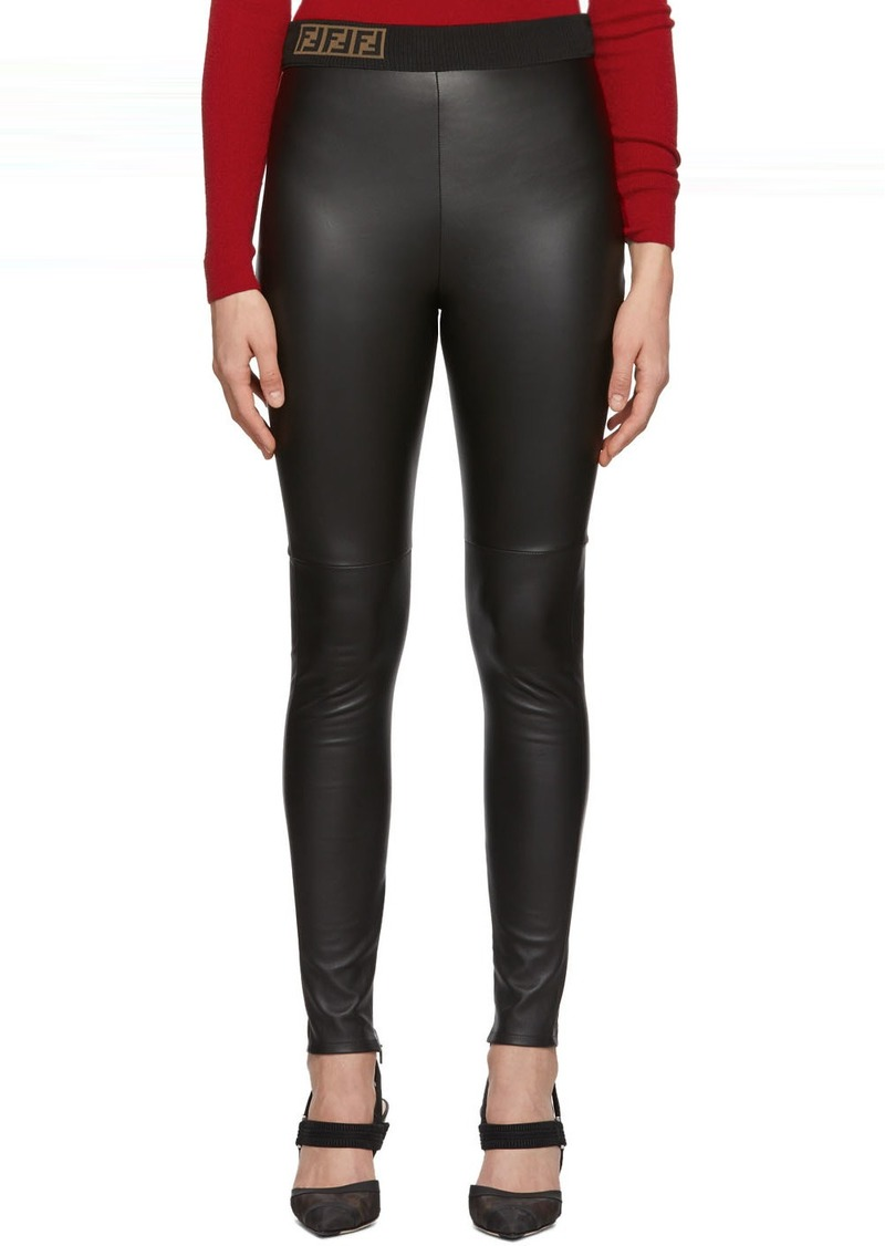 Black Leather 'Forever Fendi' Trousers