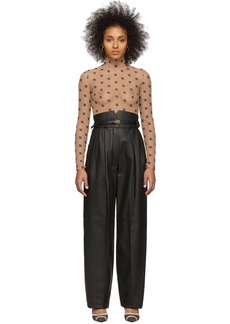 Fendi Black Leather High-Waisted Belted Trousers