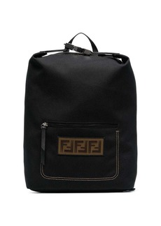 Fendi Black logo embroidered buckle backpack
