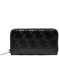 Fendi Black Logo Zip Leather Wallet