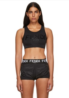 Fendi Black Neoprene Logo Bra