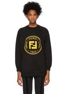 Black Sequin & Crystal 'Fendi Roma' Sweatshirt