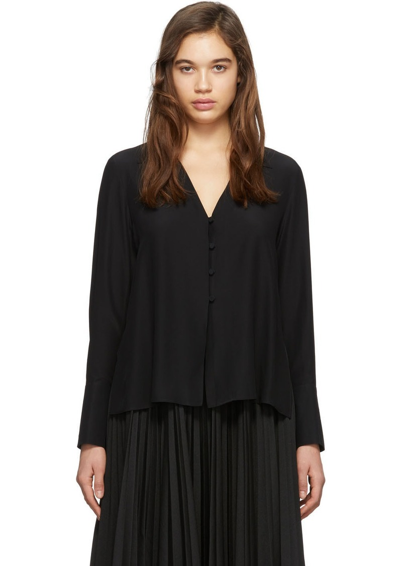 Fendi Black Silk Deep V-Neck Blouse
