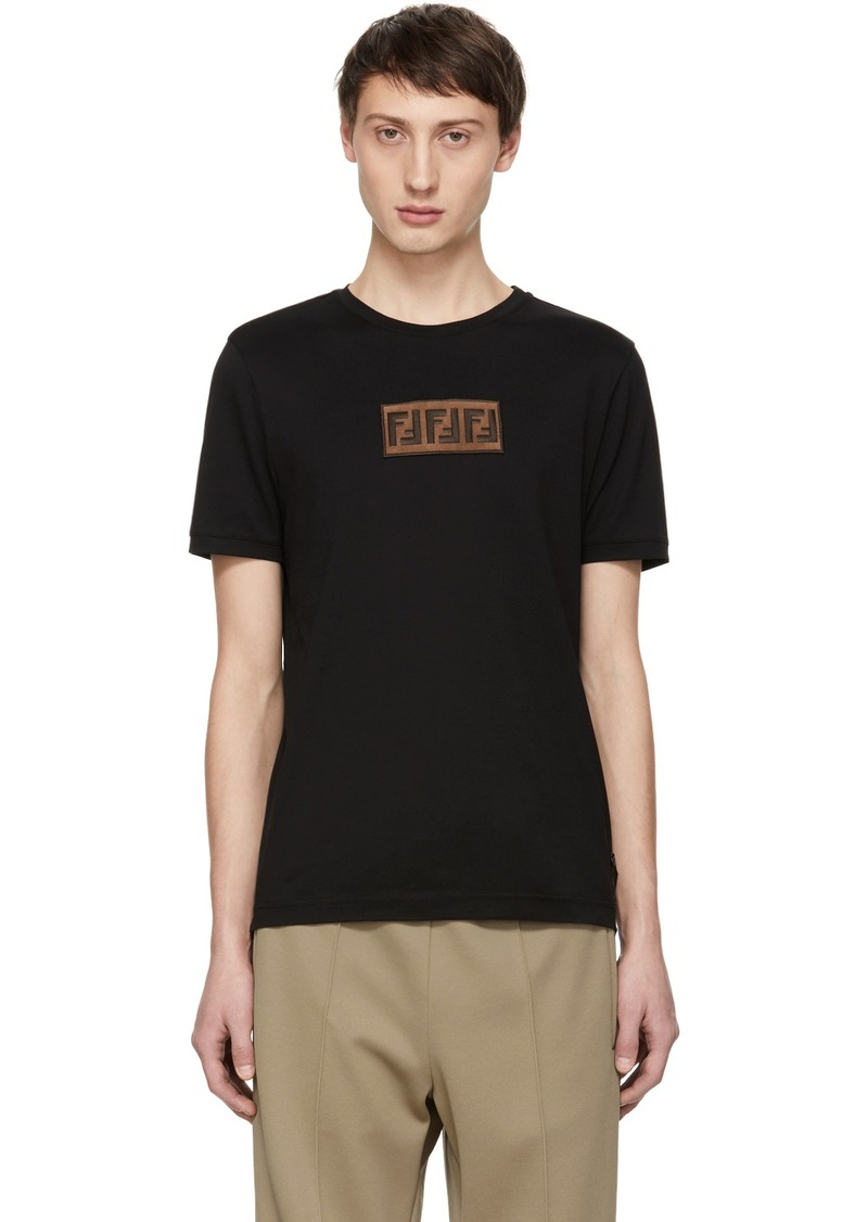 Black Suede 'Forever Fendi' Patch T-Shirt