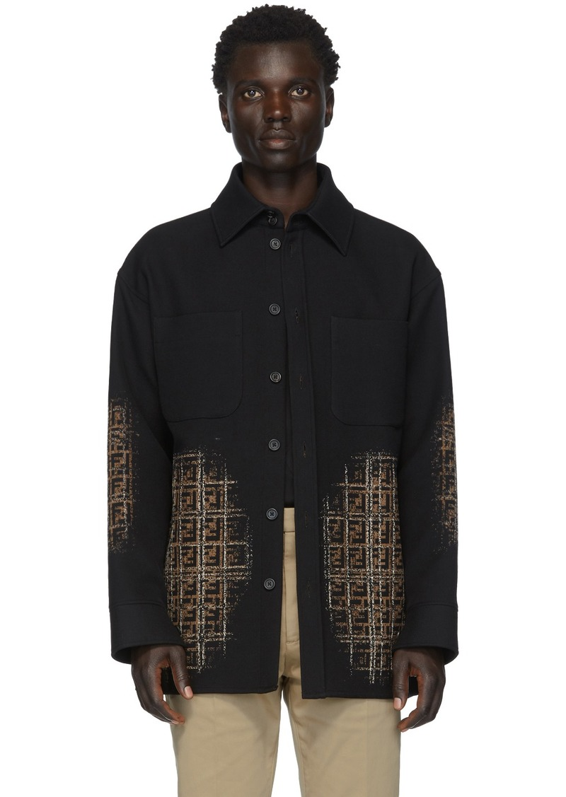 Fendi Black Wool FF Dégradé Blur Jacket