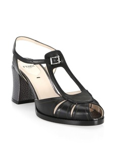 Fendi Block Heel Leather Sandals