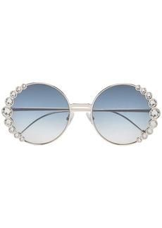 Fendi blue 58 Round Metallic sunglasses