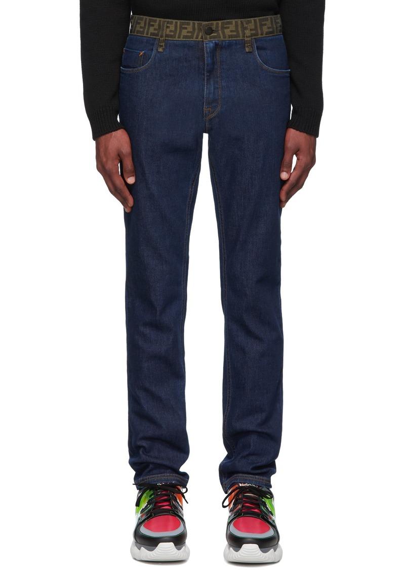 Blue 'Forever Fendi' Contrast Waistband Jeans
