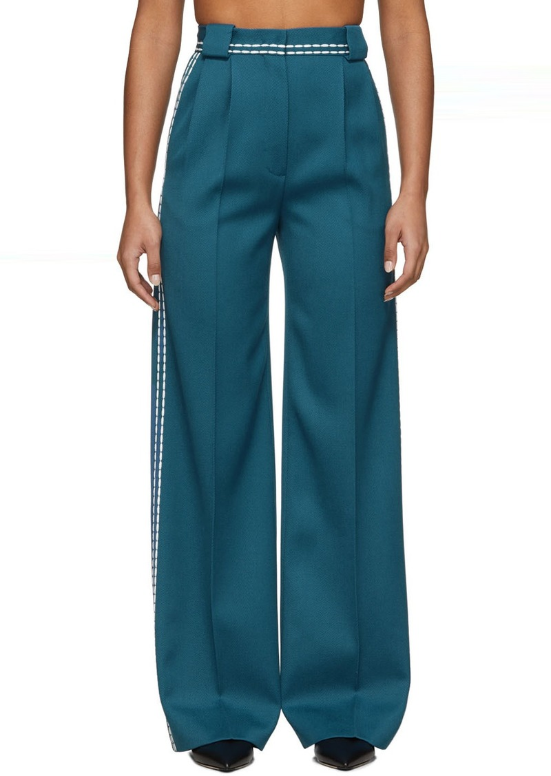 Fendi Blue High-Waisted White Stitch Trousers