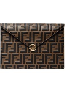 Brown & Black 'Forever Fendi' Embossed Envelope Pouch