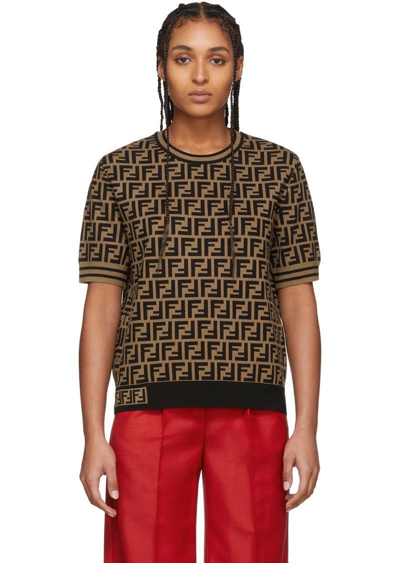 Brown & Black 'Forever Fendi' Short Sleeve Sweater