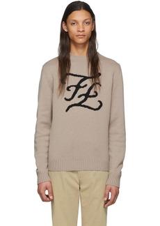 Fendi Brown Cashmere Karligraphy Sweater