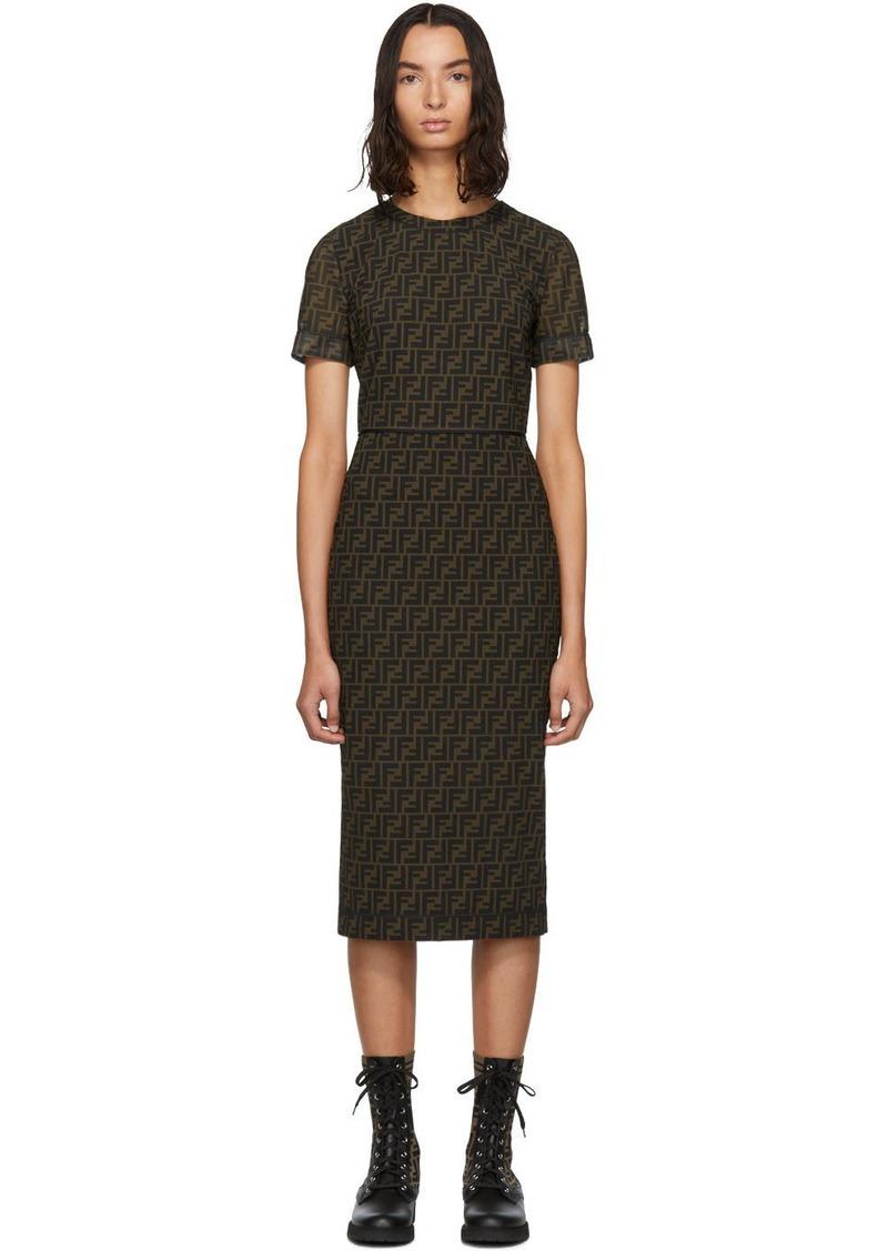 Brown Mesh 'Forever Fendi' Dress