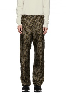 Brown Silk 'Forever Fendi' Trousers