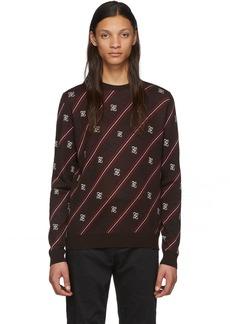 Fendi Brown Wool Stripe Karligraphy Sweater
