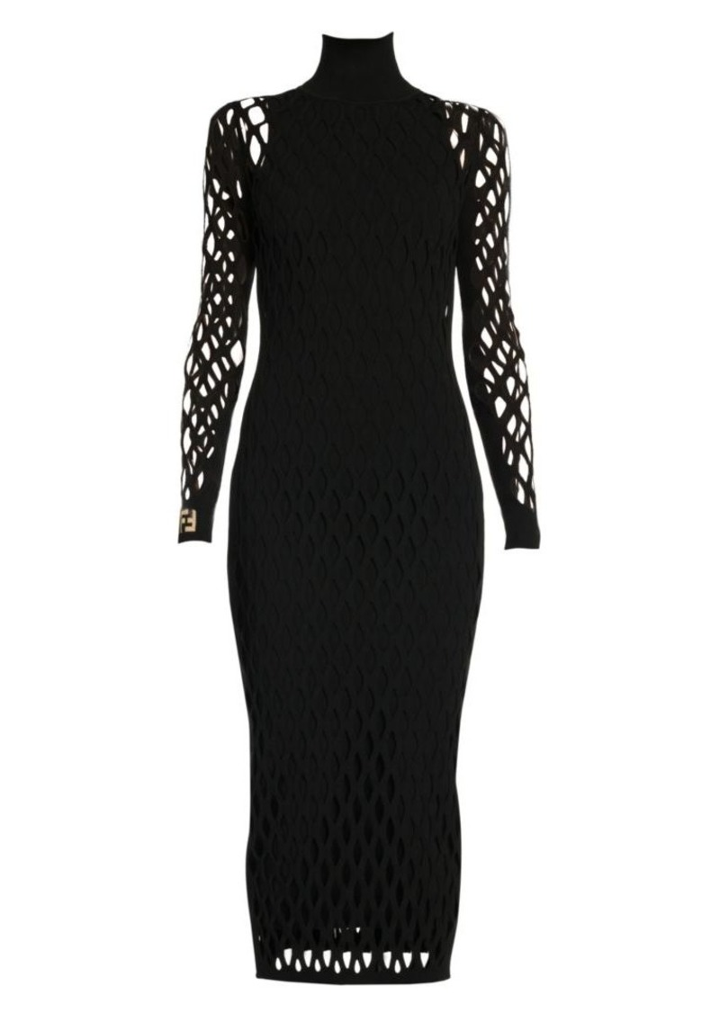 Fendi Cage Knit Turtleneck Dress